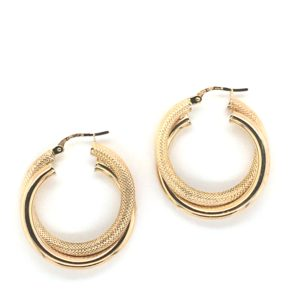 Yellow Gold Double Hoop Earrings