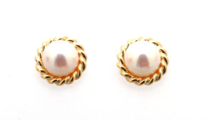 9ct Yellow Gold and Pearl Stud Earrings